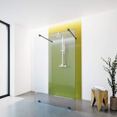 Freistehende Duschwand  mit schwarzen Beschlägen