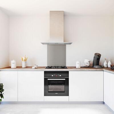 Glasplaat keuken kleur metallic-aluminium-hoogglan