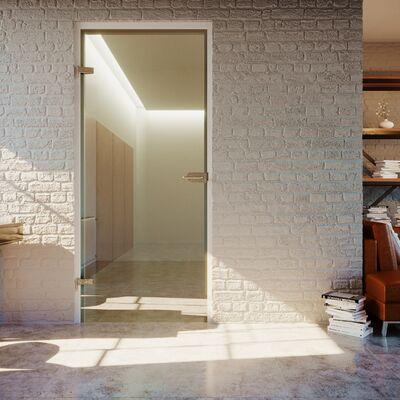 Glazen deur op 2 bestaande scharnieren